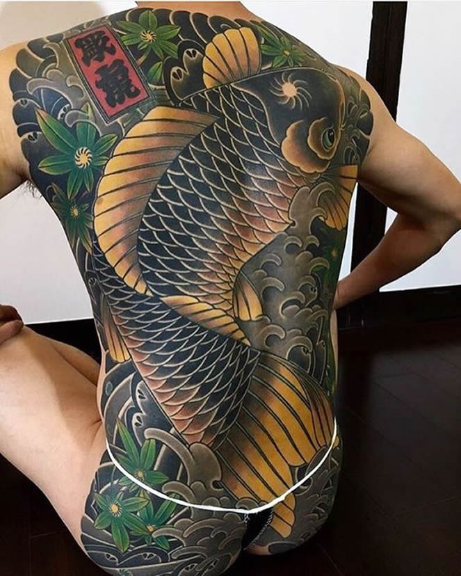 Tattoo style series japanese traditional perfect image for Koi pond tattoo